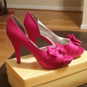 Gorgeous satin peep toe pumps